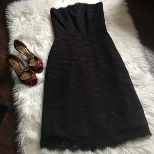 Dessy Collection Burgundy Lace Strapless Dress